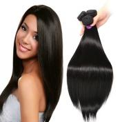 FASHION QUEEN Hair Brazilian Straight 3 Bundles 7A Grade Natural Black Colour 100% Unprocessed Virgin Human Hair Extensions
