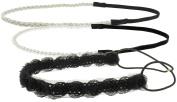 Capelli New York Ladies Mixed Designs Headwrap Black Combo One Size