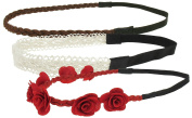 Capelli New York Ladies Mixed Style Headwraps Red Combo One Size