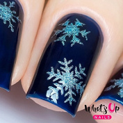Whats Up Nails - Gold Merry Snowflake Nail Stencils Stickers Vinyls for Nail Art Design