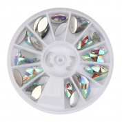 Elevin(TM) Round Eye Shape Rectangle Women Ladies 300pcs 3D Acrylic Nail Art Gems Crystal Rhinestones DIY Decoration Wheel