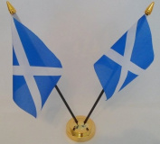 Scotland St Andrews Cross Saltire Scottish 2 Flag Desktop Table Centrepiece Display With Gold Base