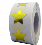 Tile & Sticker Star Shape Stickers - 5.1cm Inch - 500 Per Roll - Foil - Teacher Supplies Gold
