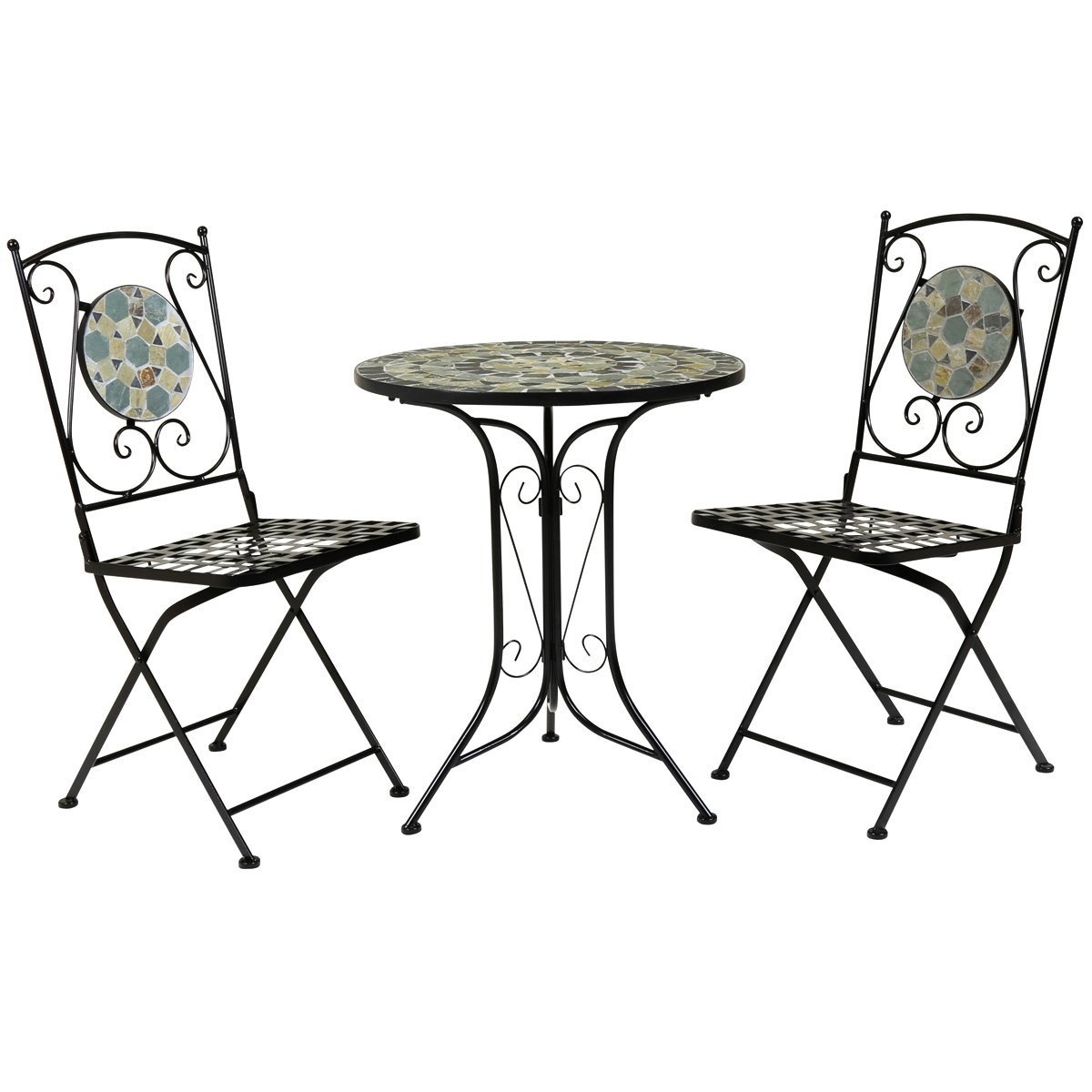 Charles bentley garden 3 piece wrought iron mosaic bistro set table and 2 chairs by charles bentley shop online for kitchen in australia