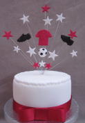 Arsenal, Manchester United, Southampton, Cardiff City Football Birthday Cake Topper Suitable For A 20cm Cake PLUS 1 x Metre 25mm Red Satin Ribbon With Bow