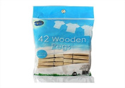 Pack of 42 Wooden Spring Clothes Pegs Laundry Washing Natural