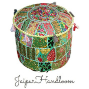 JaipurHandloom Indian Green Pouffe Stool Vintage Patchwork Embellished With Patchwork Living Room Ottoman Cover, 46 X 33 Cm or 18X13 inches