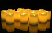 KOBWA Flickering Flameless Candles LED Tealight Candles-Pack of 12-Beautiful and Elegant Unscented LED Candles