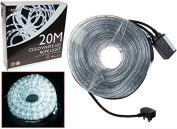 20 Metre Multi Function Ice White LED Rope Light Ideal for Christmas Displays