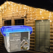 Snowtime 180 Warm White LED Icicle Lights #CL04407