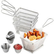 VonShef Set of 4 Mini Stainless Steel Chip Serving Fry Baskets with 4 x Sauce Dipping Bowls - FREE 2 Year Warranty