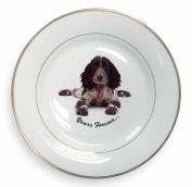 Blue Roan Cocker Spaniel 'Yours Forever' Gold Leaf Rim Plate n Gift Box