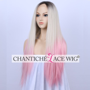 Chantiche 3 Tones Dark Roots White Blonde to Pink Synthetic Lace Front Wig Beautiful Looking Straight Synthetic Full Hair Wig for Girls 60cm