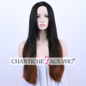 Chantiche Full Machine Made Ombre Black to Brown Synthetic Wigs Fashionable Natural Straight None Lace Synthetic Full Hair wig for Women