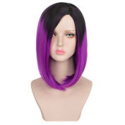 SiYi Girl's Hair Short Bob Black and Purple Ombre Fashion Celebrity Party Wig