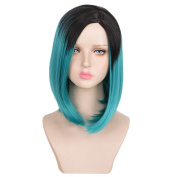 SiYi Women's Wig Short lovely Bob Black Root Cyan Blue Fashion Party Wig