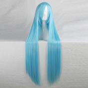 League of Legends Qeen Ash 100CM Long Light Blue Cosplay Wig + Free Wig Cap