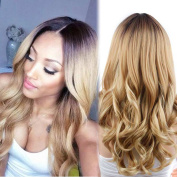 Synthetic Long Curly wigs Ombre Colour Party Wig Heat Resistant Fibre Full wigs for Woman
