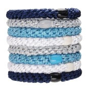 L. Erickson Ponytail Holders - Set of Eight - Blue Glow