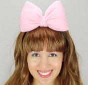 Light Pink Minnie Mouse Bow Headband Daisy Duck Inspired Handmade Hair Accessory by Sweet in the City