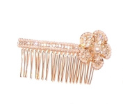 White Beads and Crystal Flower Hair Comb