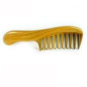Binmer(TM) Wide Tooth Wood Comb Handmade Round Handle No Static Large Wooden Comb Brush