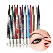 OR Pure 12 Colours Eyeliner Waterproof Lip Liner Eye Shadows Eyebrow Pen Non-staining Automatic Rotation Cosmetic Pencil Colouring Set Makeup Kit