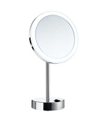 Smedbo FK484EW Led Dual Lighted 5X Magnification Make-Up Mirror (Warm/Cool Lighted), Polished Chrome/Enamel White
