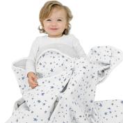 "Woolino Toddler Blanket, Merino Wool, 4 Season Dream Blanket, 52.5"" x 40"", Blue Stars"
