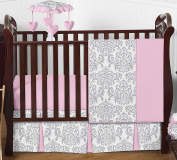 Sweet Jojo Designs Pink, Grey and White Elizabeth Baby Girl Bedding 4pc Crib Set without Bumper