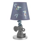 Lambs & Ivy Animal Crackers Jungle Lamp with Shade & Bulb, Grey/Blue