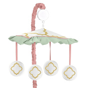 Ava Mint Coral White and Gold Trellis Girls Musical Baby Crib Mobile