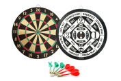 GameRoomGo Dart Board, 2 in 1 Game Dartboard, Traditional Dart Game On One Side and Classic Baseball Dart Game on the Opposite Side. Perfect to complete a basement or game room. Includes 6 darts
