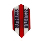 Ruthless - 1762 - Red w/ Clear Panels - 5 Sets of 3 - Double Thick Slim Shaped Dart Flights