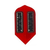 5 Sets of 3 Dart Flights - 2200 - Pentathlon Red Clear Panels Slim Double Thick Flights