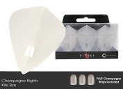 L-Style L4c Kite Champagne Dart Flights with 3 Clear Black Champagne Rings
