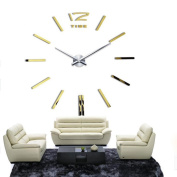 LEERYA Luxury DIY 3D Wall Clock Home Decor Bell Cool Mirror Stickers Watch