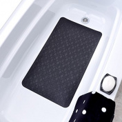 38cm x 70cm Large Rubber Safety Bath Mat With Microban - Black
