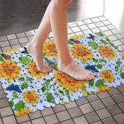 Alicemall Unique Pretty Yellow Sunflower Print Skid-Resistant PVC Bath Mats 36cm x 70cm Massage Shower Stall Mats