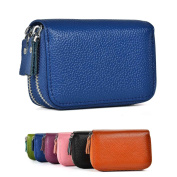 Genuine Leather RFID Secured Spacious Cute Zipper Card Wallet Small Purse for Men & Women