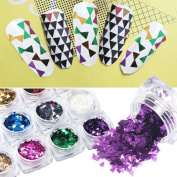Alonea 12PC Nail Art Triangle Fluorescence Colourful Sequins Nail Decals Nail Decoration