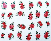 Set of 5 Water Transfer Nail Art Stickers Decal Beauty Red Peony Rose Flowers Design