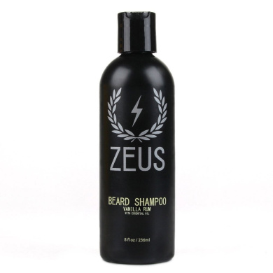 Zeus Beard Shampoo and Wash for Men - 240ml - Beard Wash with Natural Ingredients (Scent: Vanilla Rum)