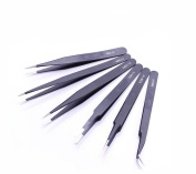 1Set(6PCS) Black Stainless Steel ESD Anti-Static Precision Tweezers -- Hardened Mould Precision Extractor Tool for Laboratory Work Hobbies and Jewellery-making Electronics