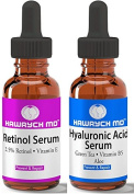 Hawrych MD Retinol and Hyaluronic Acid Serum Set The Best Anti Ageing Serums Diminish Lines and Wrinkles and Hydrate Skin
