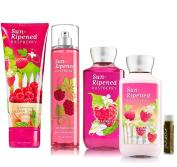 Bath & Body Works Gift Set Sun Ripened Raspberry Mist, Cream, Lotion & Gel with A Jarosa Beauty Bee Organic Chocolate Bliss Lip Balm