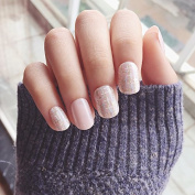 Yunail 24 pcs Shinning Star Short Fake Nails Glitter Nude Nail Tips with Design in box cute Nials for Daily Office