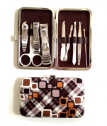 One Set 9pcs Multifunction Stainless Steel Personal Manicure and Pedicure Set Travel Grooming Kit