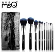 DaySeventh 10pcs Professional Blue Classic Cosmetic Brush Set Cosmetic Brush Bag Beauty