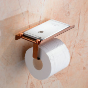 Beelee SUS 304 Stainless Steel Wall Mount Toilet Paper Holder, SUS304 Stainless Steel Bathroom Tissue Holder with Mobile Phone Storage Shelf, Rose Golden